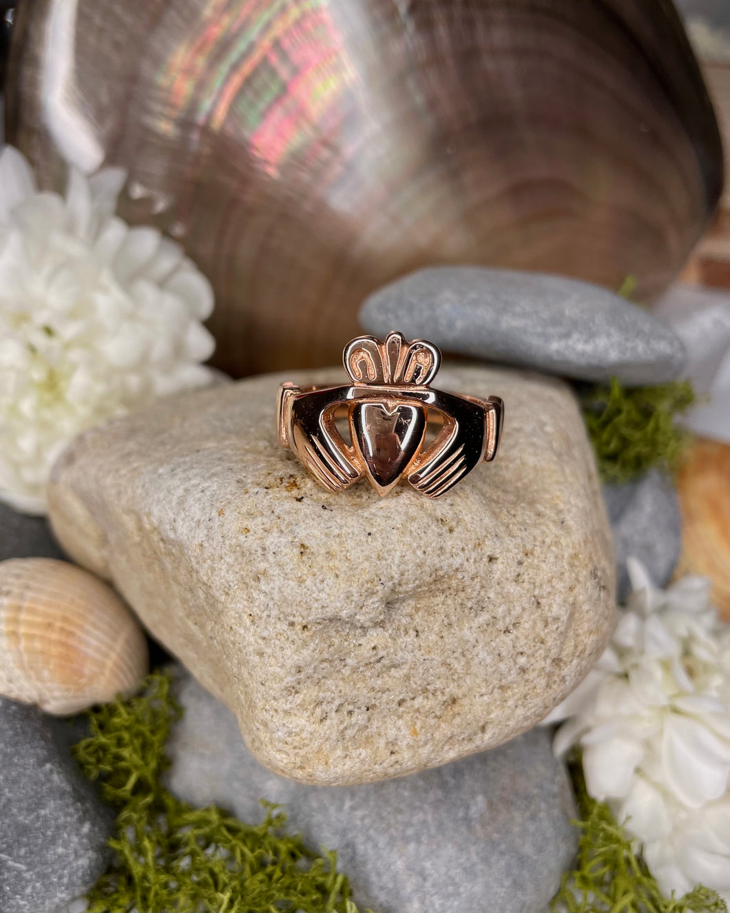 Heavy 10ct Rose Gold Claddagh Ring