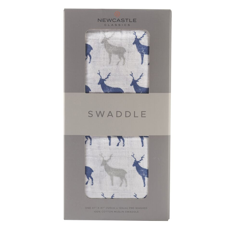 Blue Deer Swaddle Cotton