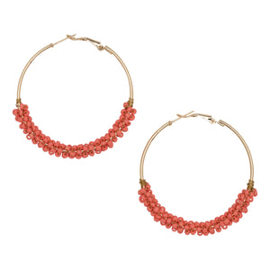 Occasionally Made - Coral Seed Bead Hoop Earring
