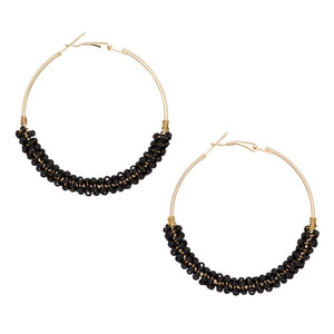 Beaded Hoop Earrings in Black