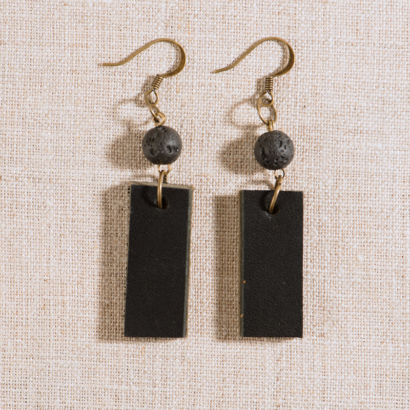 Lava Stone & Leather Diffusing Earrings