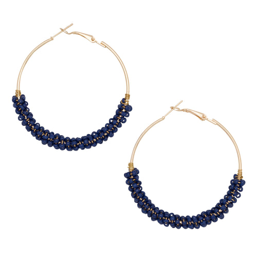 Beaded Hoop Earrings in Navy