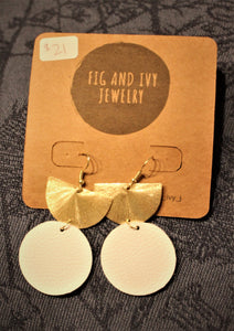 Fig and Ivy Jewelry - Gold Half Moon Earrings - White Leather