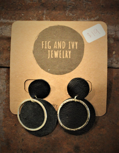 Fig and Ivy Jewelry - Double Black Circle Earrings - Gold Hoops