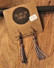 Fig and Ivy Jewelry - Knotted Metal Tassel Earrings - Grey Suede