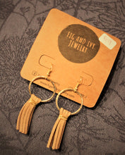 Fig and Ivy Jewelry - Gold Hoop Tassel Earrings - Taupe Suede