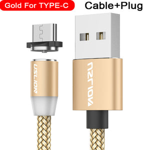 Magnetic USB Cable Fast Charging With USB Type C or Micro USB Plug