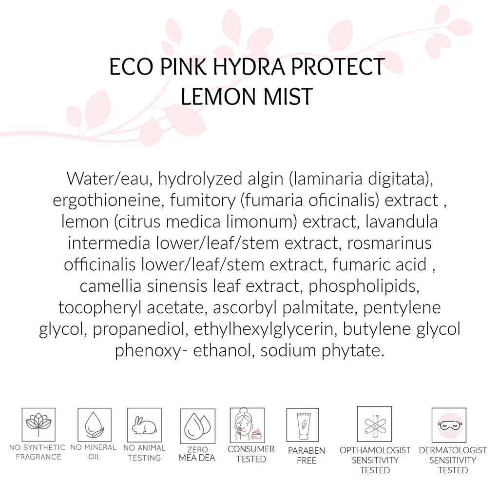 Ingredients, Hydra Protect Lemon Mist, Eco Pink Skin Care, Toronto, ON