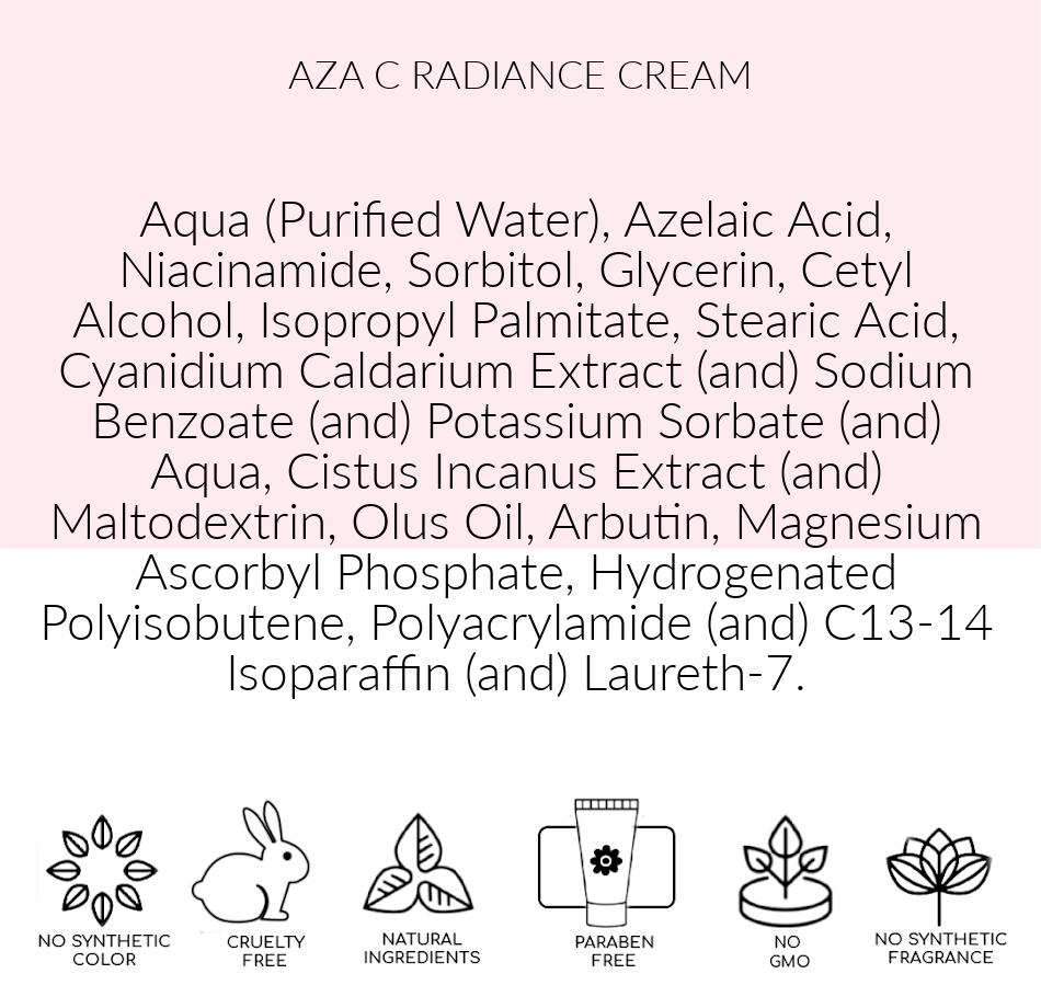 Ingredients, AZA C Radiance,  Pink Avenue Skin Care, Toronto, ON