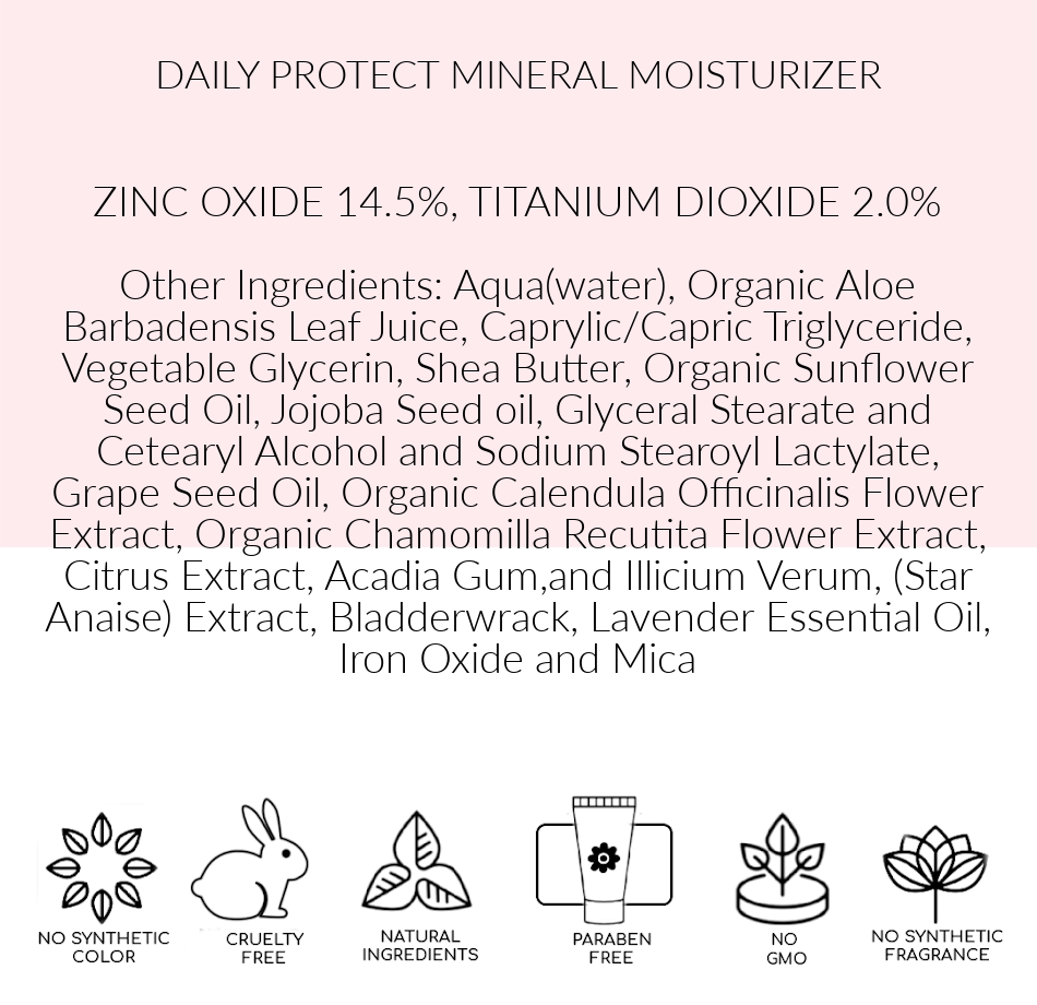 Ingredients, Pink Avenue, Daily Protect Mineral Moisturizer