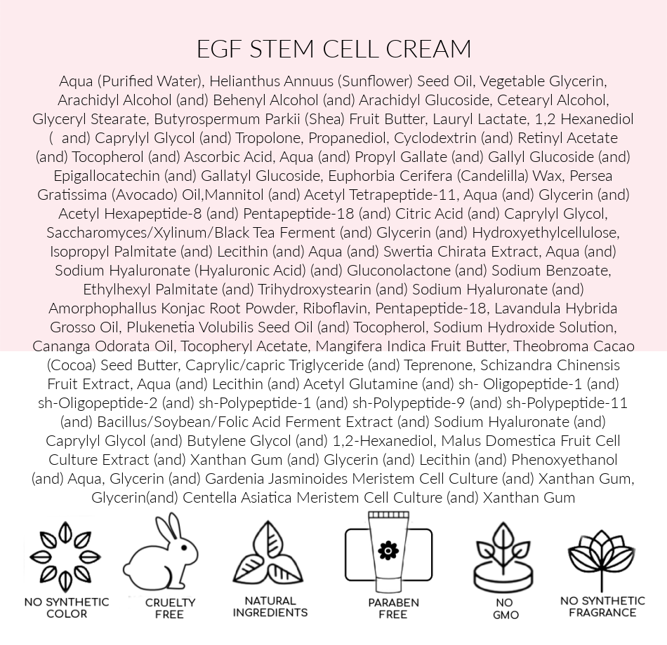 INGREDIENTS, EGF Stem Cell Cream , Pink Avenue, Toronto, ON Canada