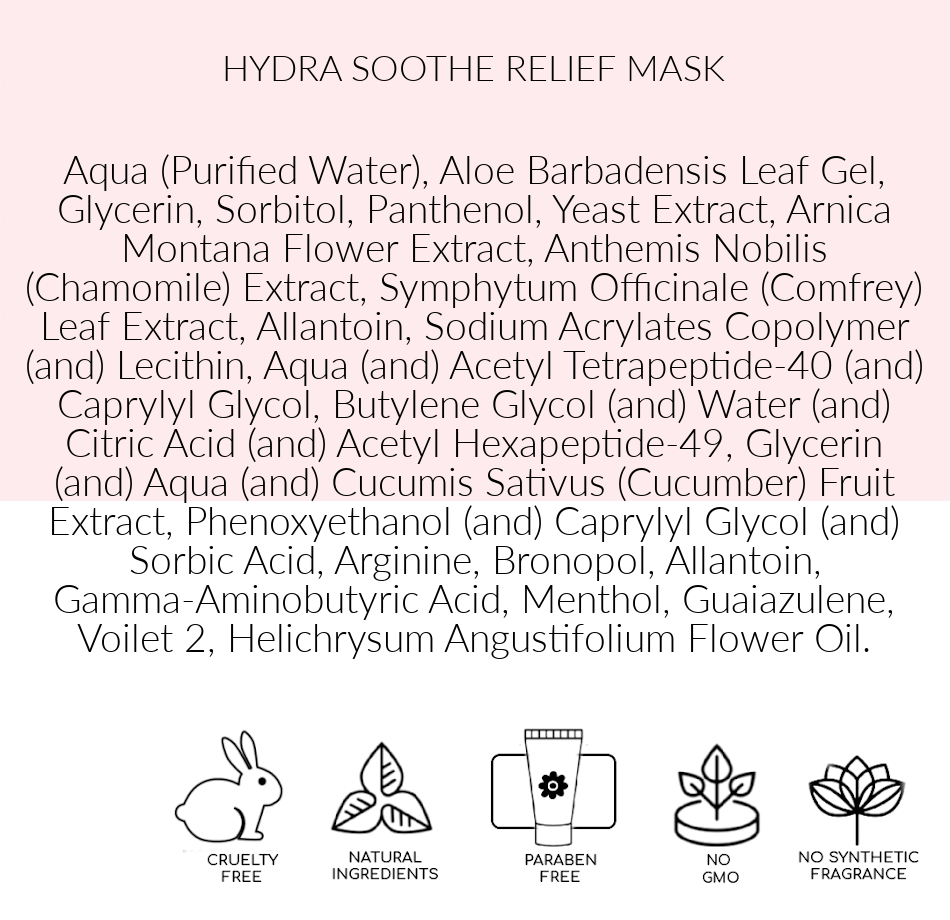 Ingredients, Hydra Soothe Relief Mask, best mask for sensitive skin, Toronto, ON