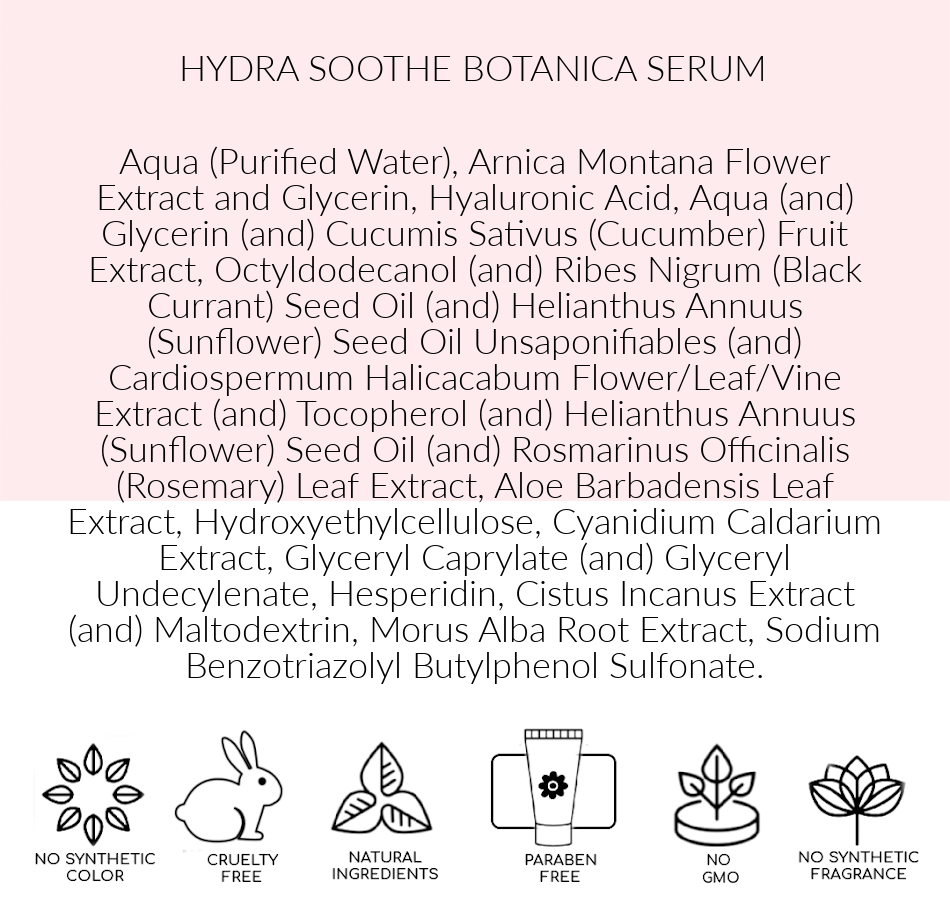 Ingredients, Pink Avenue Hydra Soothe  Botanica Serum, Toronto