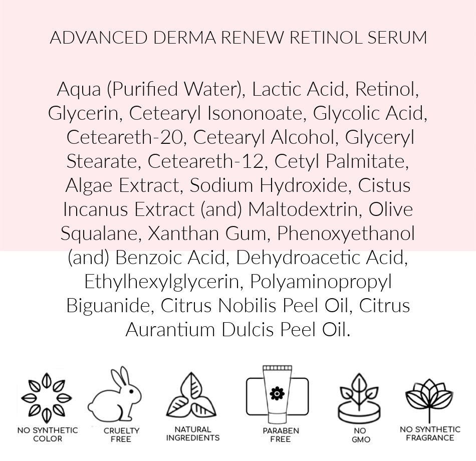 Ingredients  Advanced Derma Renew, Pink Avenue Skin Care