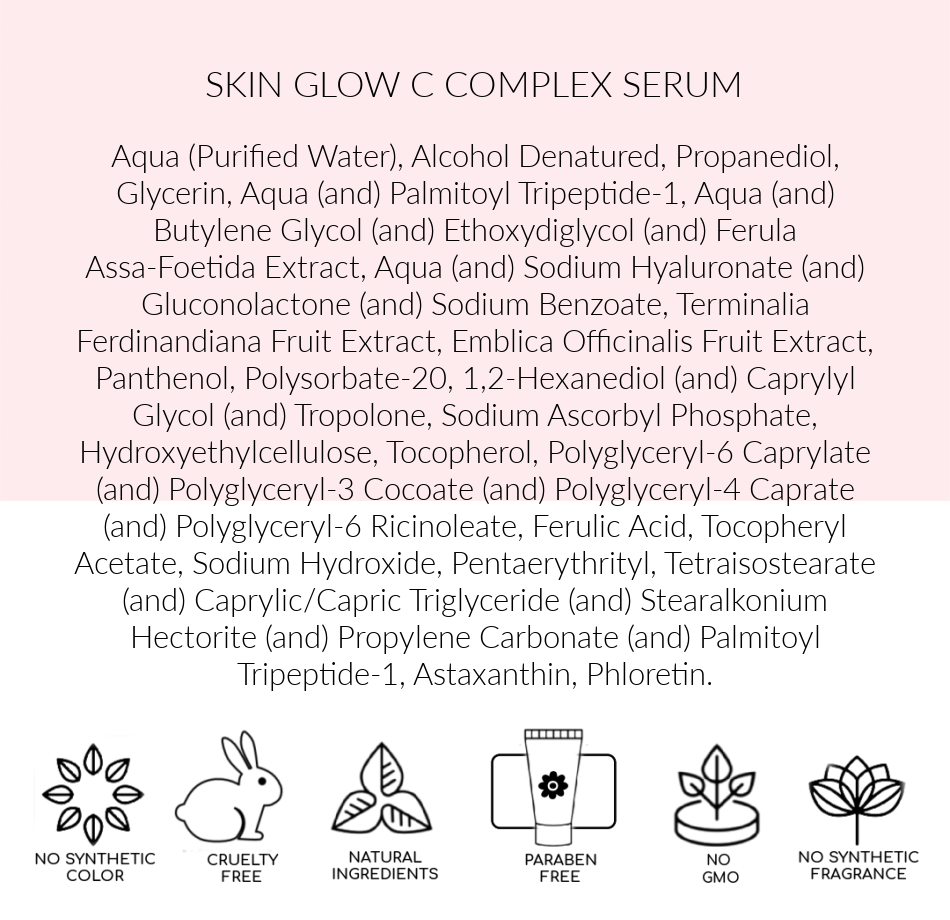 Ingredients Best Vitamin C serum, Skin Glow C Complex Pink Avenue  Toronto, ON  Canada