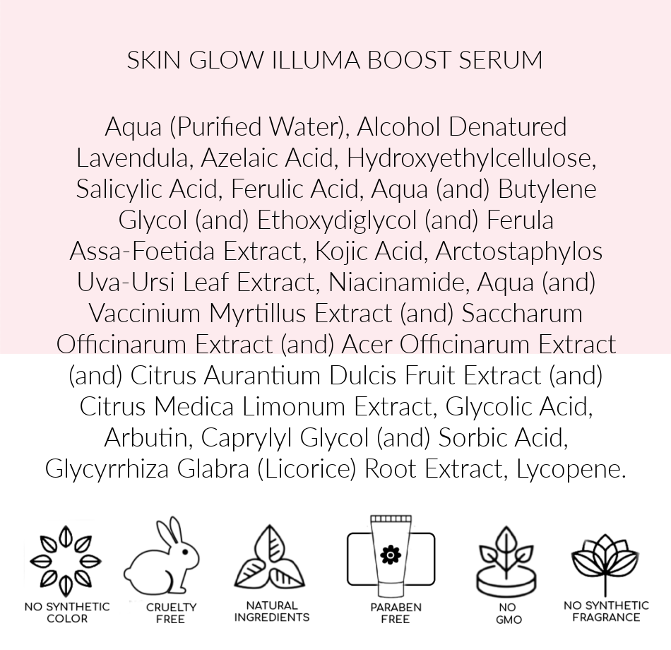 Ingredients, Skin Glow Illuma Boost, Pink Avenue, Toronto Canada