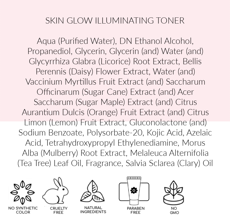 Ingredients, Skin Glow Illuminating Toner, Pink Avenue, Toronto
