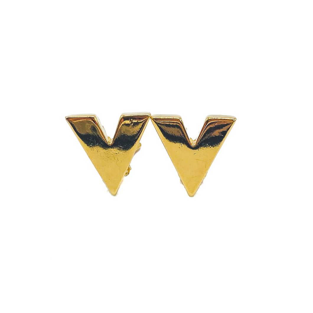 VALENTINO Earrings Vintage 1980s V clip on gold