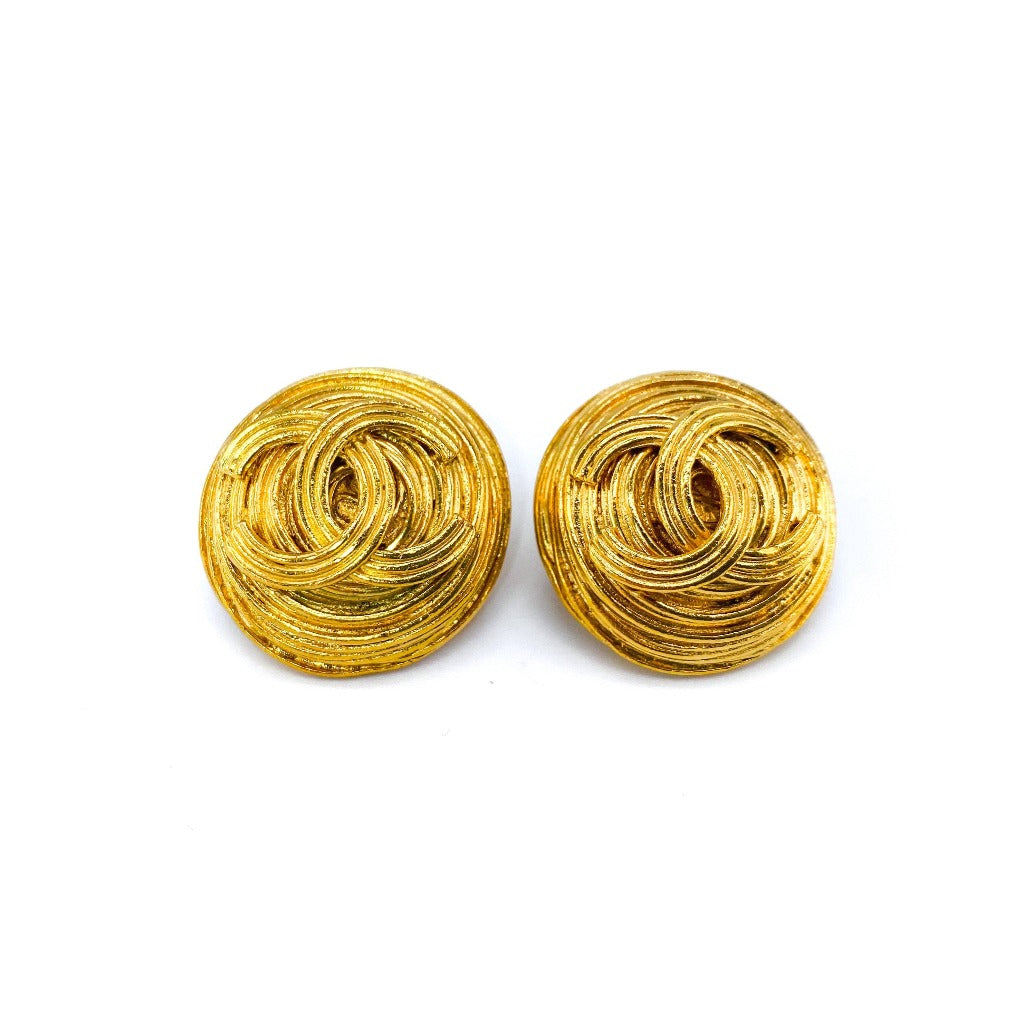 Chanel Earrings Vintage 1990s Clip On