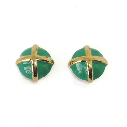 Vermeil Green Vintage 1980s Clip On Earrings designer vintage jewellery green enamel gold cross