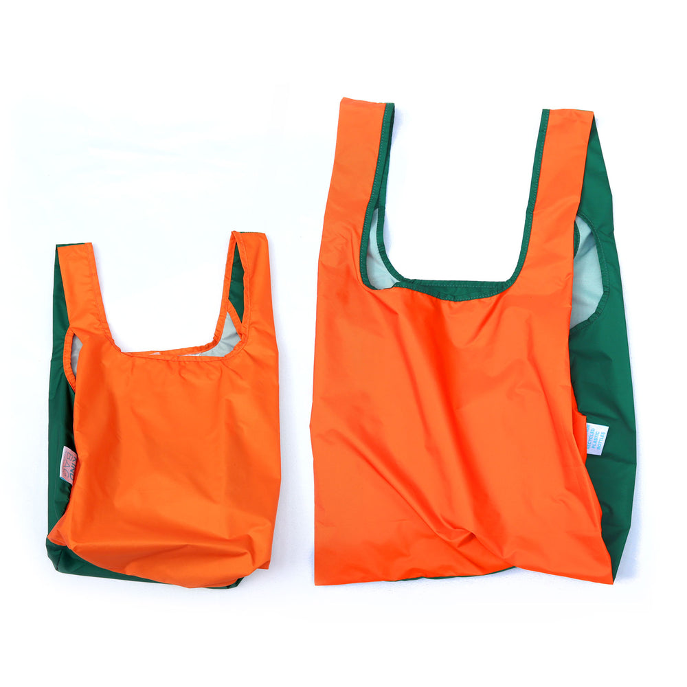 Bicolour Orange & Green - Mini & Medium Bundle - 100% recycled reusable bag