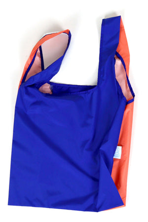 Bicolour Peach & Blue - 100% recycled reusable bag - Medium - kind-bag