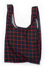 Grid Blue & Red - 100% recycled reusable bag - Medium