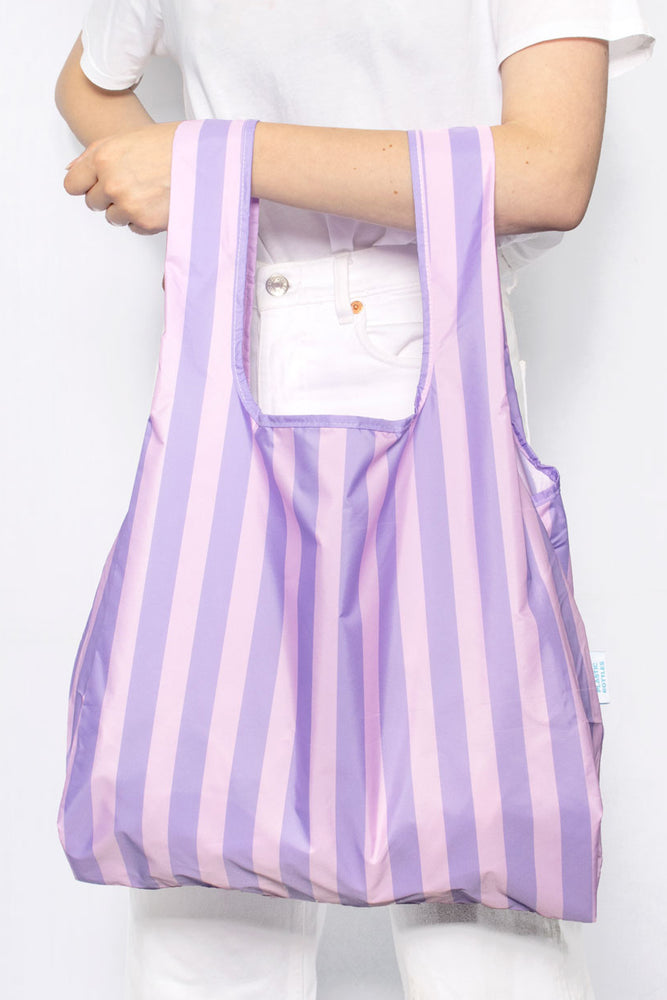 Purple Stripes - 100% recycled reusable bag - Medium - kind-bag