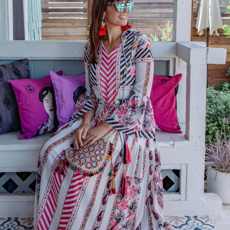 Astrid Floor Length Boho Print Dress