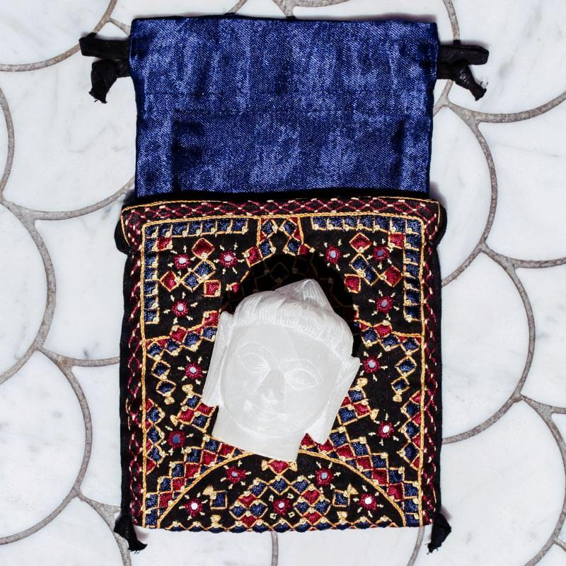 Myrthi Embroidered + Mirrored Silk Jewelry Pouch