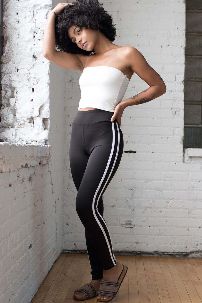 Black High Waisted Stripe Leggings