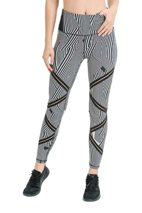 HIGH WAIST MESH ZIG ZAG FULL LEGGINGS