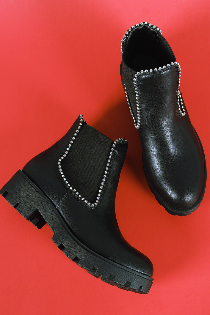 Bamboo beads Trim Side Elastic Gore Chelsea Booties