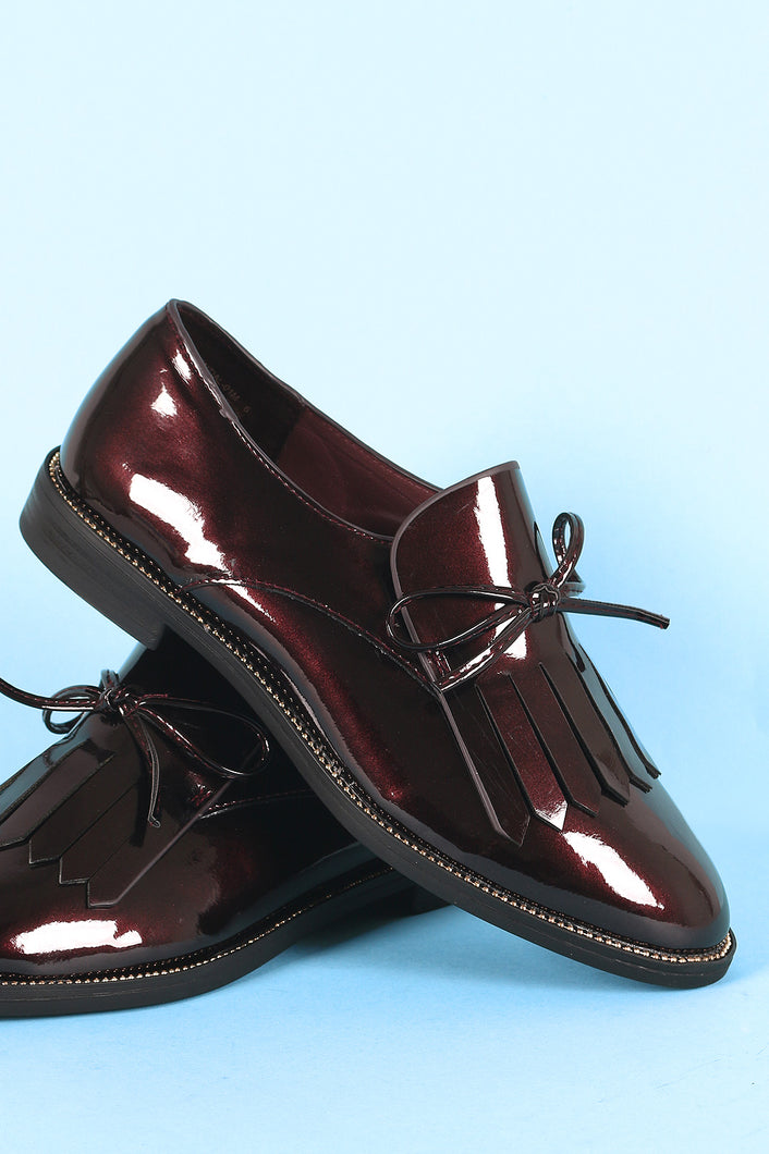 Bamboo Patent Vegan Leather Bow Fringe Loafer