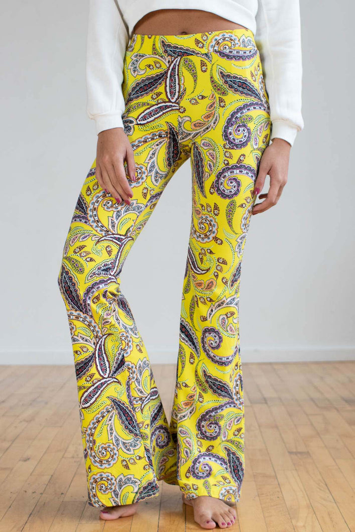 Yellow Paisley Bell Bottoms