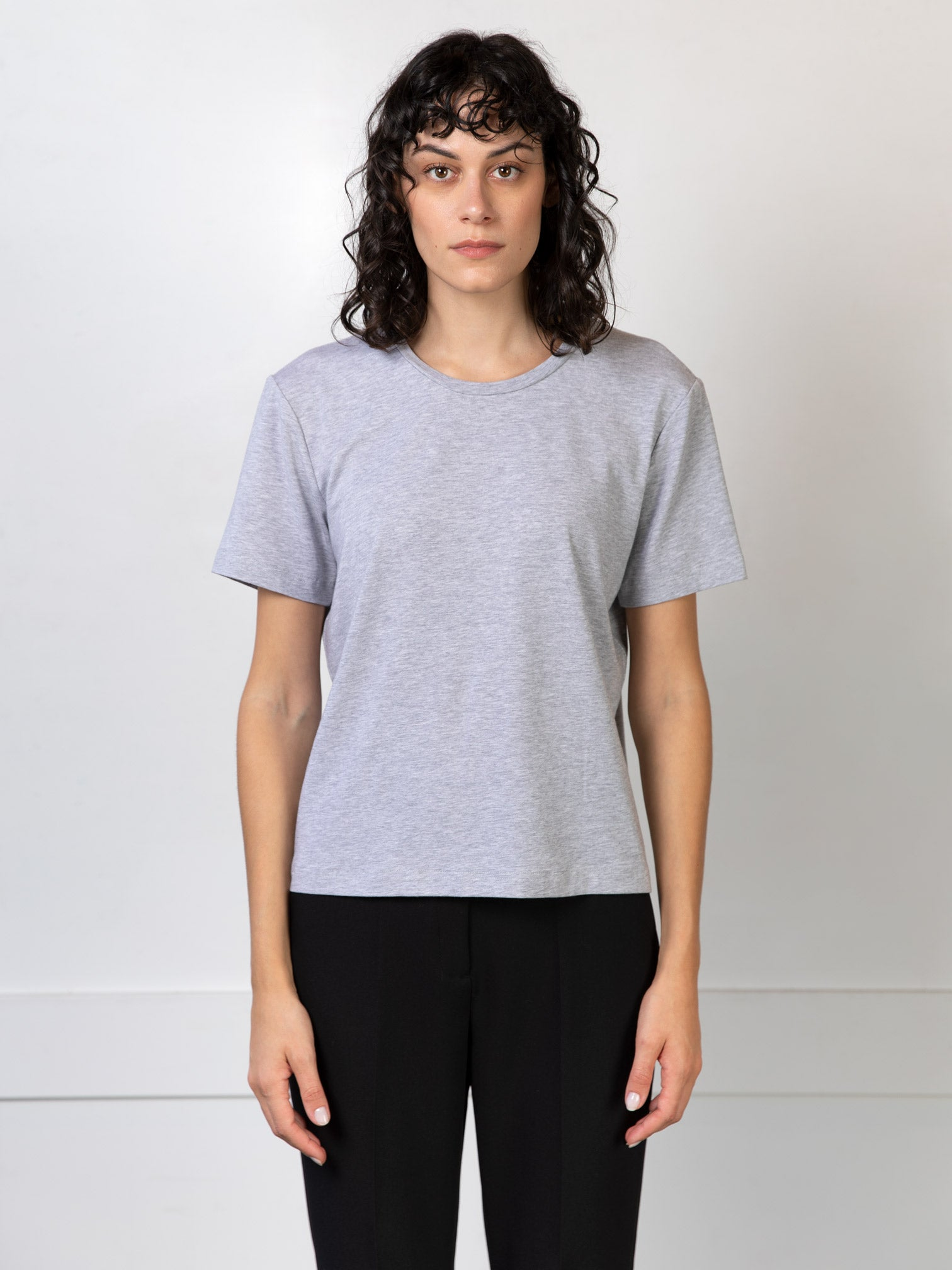 Tee-shirt Agathe gris clair chiné