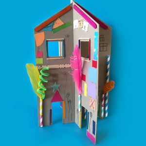 3D cardboard collage house kids craft activity