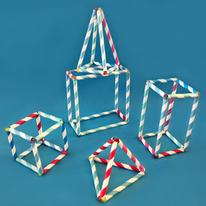 3D shapes made with paper straws and pipe cleaners