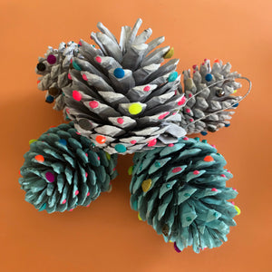 painted pine cone christmas decorations