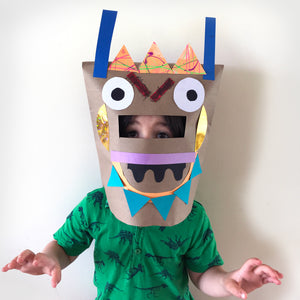 Paper bag monster and robot masks kids craft