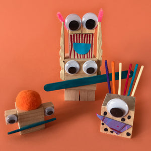 build mini monsters with wooden blocks kids craft activity