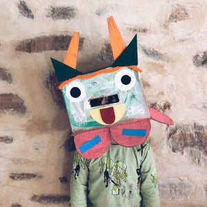 Cardboard box monster mask heads children's craft activity