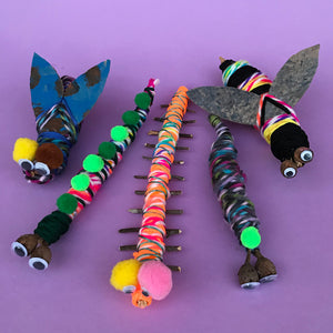 Kids crafts yarn wrapped bugs