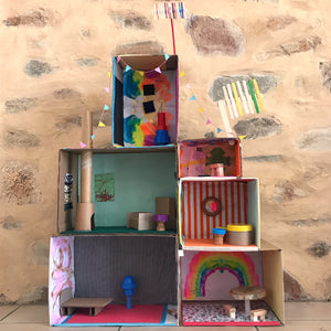 Recycled cardboard box dolls house