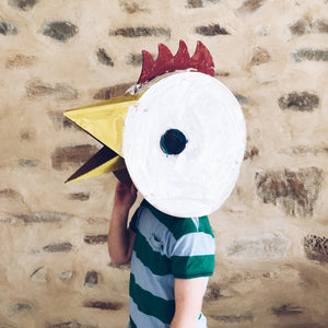 Cardboard chicken head fancy dress costume