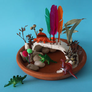 Kids craft ideas - clay dinosaur cave