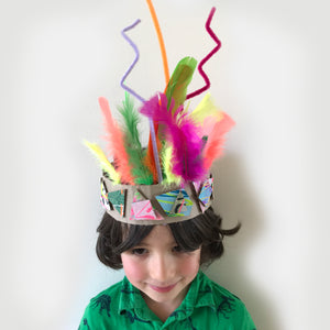 homemade kids party crown with feathers