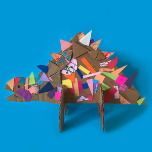 3D Collage dinosaurs kids art project