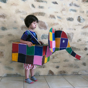 Cardboard box Elmer elephand kids costume