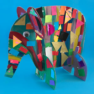 3D collage Elmer the elephant craft activity made by children